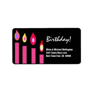 El rosa mira al trasluz cumpleaños etiquetas de dirección