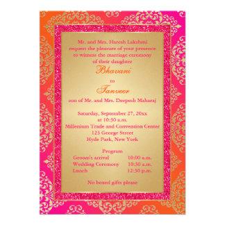 El rosa naranja FALSO boda del brillo del oro in
