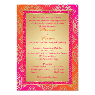 El rosa naranja FALSO boda del brillo del oro in Invitaciones Personales