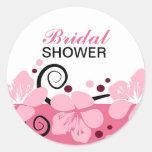 El rosa nupcial de moda de la ducha florece al etiquetas redondas