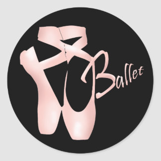 El rosa Pointe de la bailarina del ballet calza al Pegatina Redonda