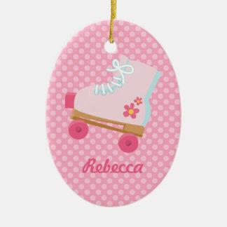 El rosa puntea el ornamento del óvalo del cumpleañ ornamentos de navidad