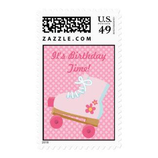 El rosa puntea franqueo del cumpleaños de Rollersk Sello