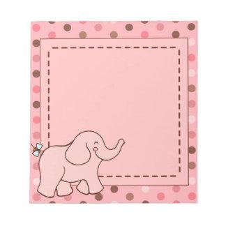 El rosa puntea la libreta del elefante libretas para notas