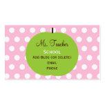El rosa puntea tarjetas de visita del profesor