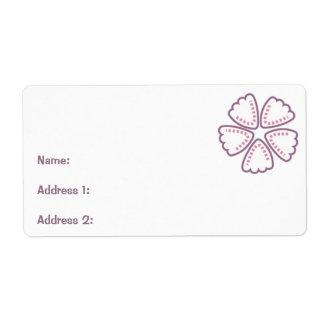El rosa púrpura de la flor puntea 1 etiqueta de envío