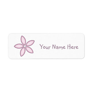 El rosa púrpura de la flor puntea 2 etiqueta de remite