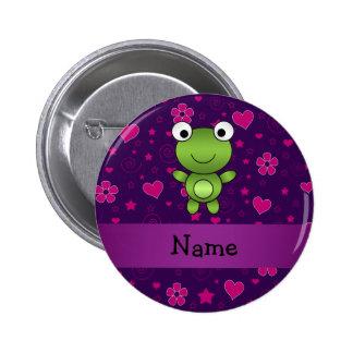 El rosa púrpura personalizado de la rana conocida  pin redondo de 2 pulgadas