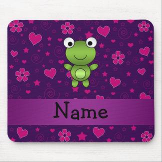 El rosa púrpura personalizado de la rana conocida  tapete de ratones