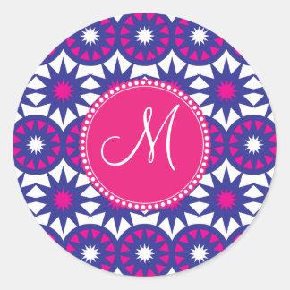 El rosa púrpura personalizado del monograma etiqueta redonda