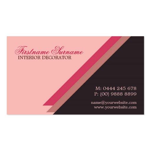 El rosa raya al decorador de interiores elegante tarjetas de visita