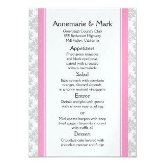 """El rosa raya el menú gris del boda del damasco invitación 4.5"""" x 6.25"""""""