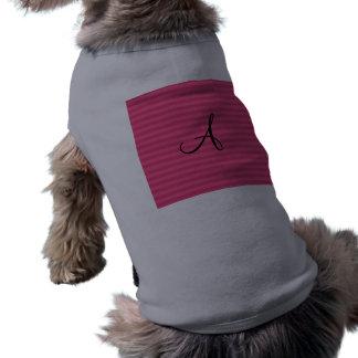 El rosa raya el monograma camisetas de perrito