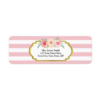 El rosa raya la etiqueta floral rosada del remite etiquetas de remite