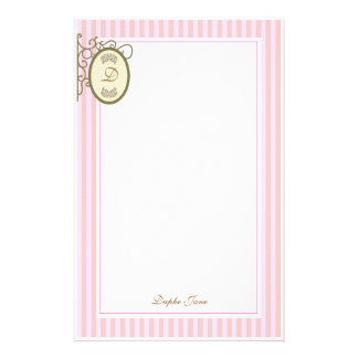 El rosa raya la golosina - monograma inmóvil papeleria