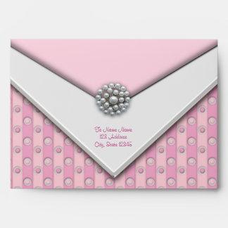 El rosa raya sobres rosados de los puntos rosados