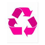 el rosa recicla símbolo tarjeta postal