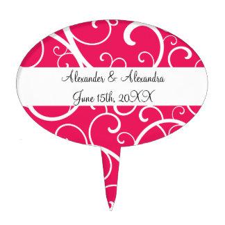 El rosa remolina los favores del boda decoración de tarta