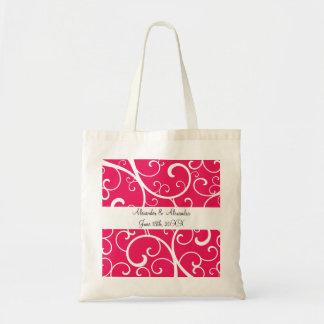 El rosa remolina los favores del boda bolsa de mano
