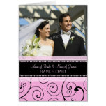 El rosa remolina tarjeta de la invitación de la fo