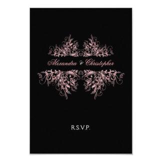 """El rosa retro elegante remolina casando RSVP 2 Invitación 3.5"""" X 5"""""""