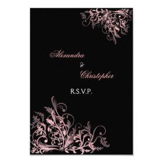 """El rosa retro elegante remolina casando RSVP Invitación 3.5"""" X 5"""""""