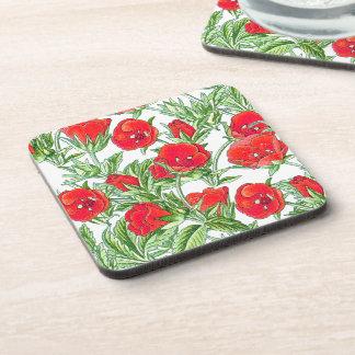 El rosa rojo botánico florece el práctico de costa portavasos