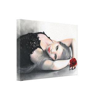 El rosa rojo de la belleza de Bella Rosa envolvió  Impresión En Lienzo