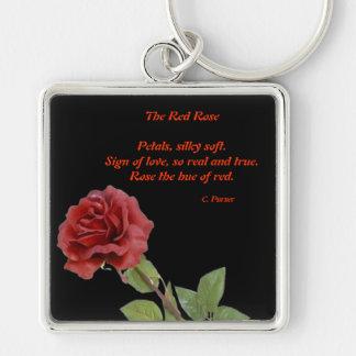 El rosa rojo llavero cuadrado plateado