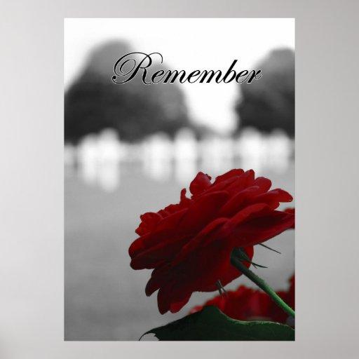 El rosa rojo recuerda Memorial Day Póster