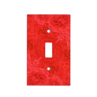 El rosa rojo rico hermoso florece fusión del tapa para interruptor