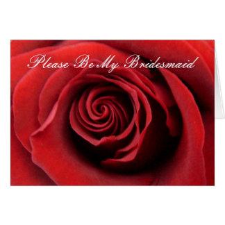 El rosa rojo sea por favor mi dama de honor tarjetas