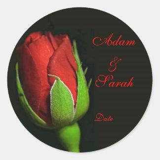 el rosa rojo, solapa subió, Adán y Sarah, fecha Pegatina Redonda