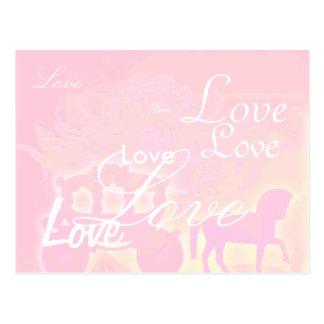 El rosa romántico del caballo y del carro ahorra tarjeta postal
