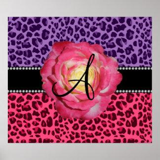 El rosa rosado y púrpura del monograma del leopard posters