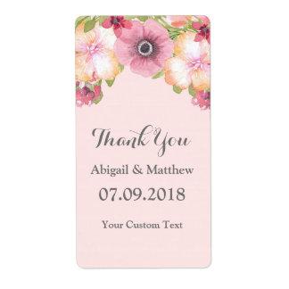 El rosa se ruboriza las etiquetas florales del etiquetas de envío