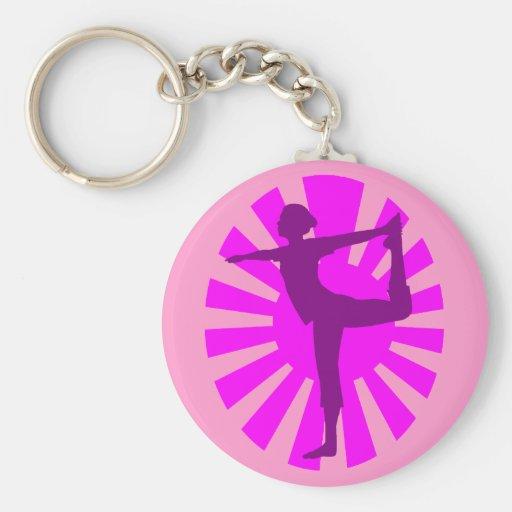 El rosa sombrea la yoga #1 del sol naciente llavero personalizado