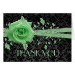 El rosa verde del damasco de lujo negro le tarjeton