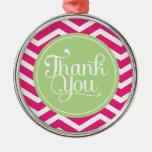 El rosa verde le agradece Chevron Ornaments Para Arbol De Navidad