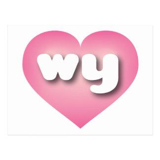 El rosa wy de Wyoming se descolora corazón Tarjetas Postales