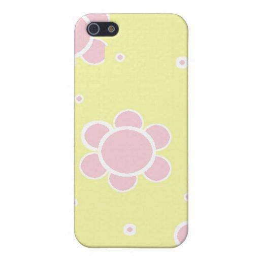 El rosa y el amarillo florecieron la caja de la mo iPhone 5 fundas