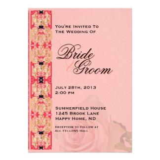 El rosa y el boda del oro invitan - a 3