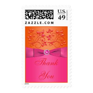 El rosa y el boda floral anaranjado le agradecen envio