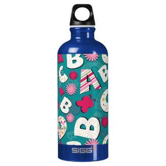 El rosa y el diseño azul de ABC Botella De Agua