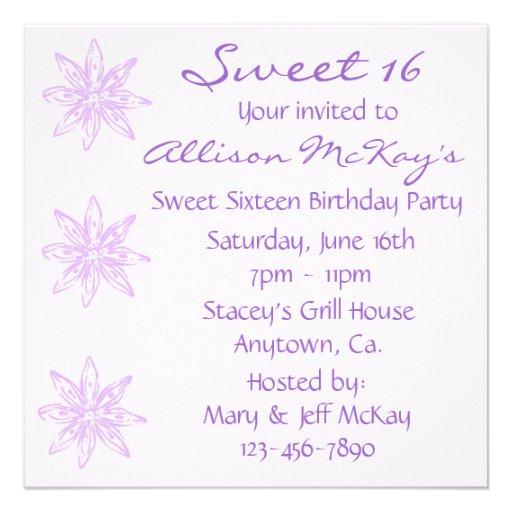 El rosa y el dulce 16 de Lavendar invita Invitacion Personalizada