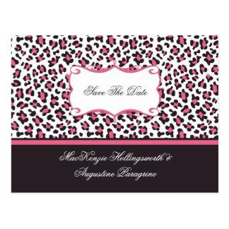 El rosa y el leopardo de Brown ahorran la fecha Postal