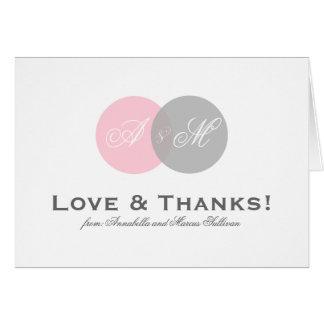 El rosa y el monograma entrelazado gris le agradec tarjeta de felicitación