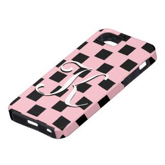 El rosa y el negro del monograma de K comprobaron iPhone 5 Fundas