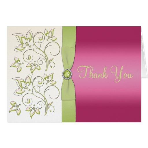 El rosa y el verde le agradecen tarjeta de nota