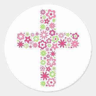 El rosa y el verde pascua cruzada floral sellan al